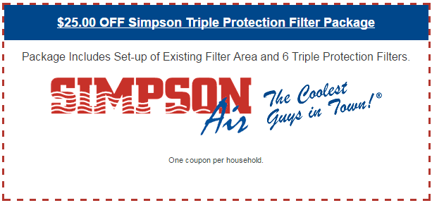 $25.00 OFF Simpson Triple Protection Filter Package