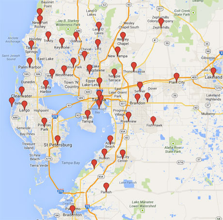 Tampa Bay Air Conditioning Service Area - Simpson Air